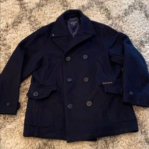 Nautical Wool Blend Pea Coat Size Xl!